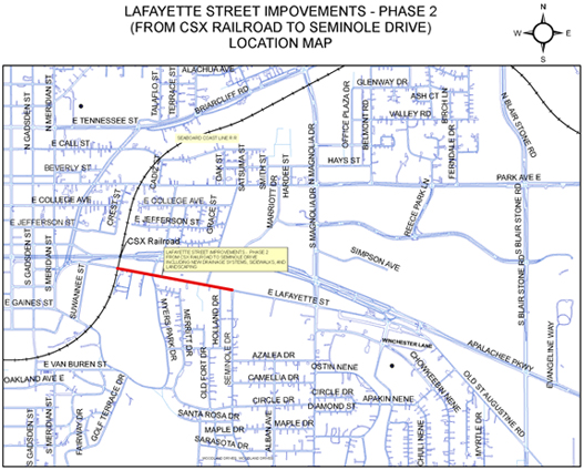 Lafayette Street Improvements - Phase 2 (From CSX Railroad to Seminole Drive) Location Map