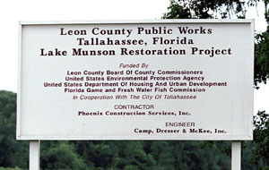 Sign for Leon County Public Works Munson Restoration Project