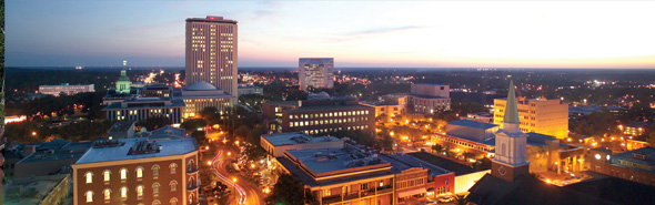 Downtown Tallahassee at dusk